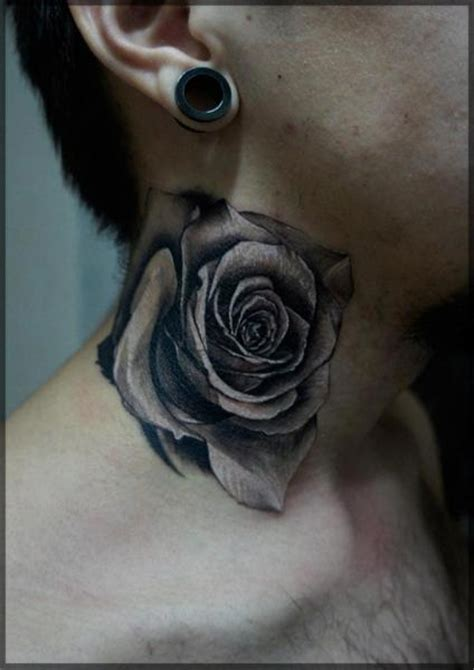 flower neck tattoo by pavel roch