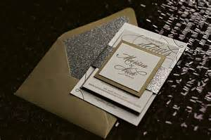 real wedding marisa and nick silver and gold glitter wedding invitations