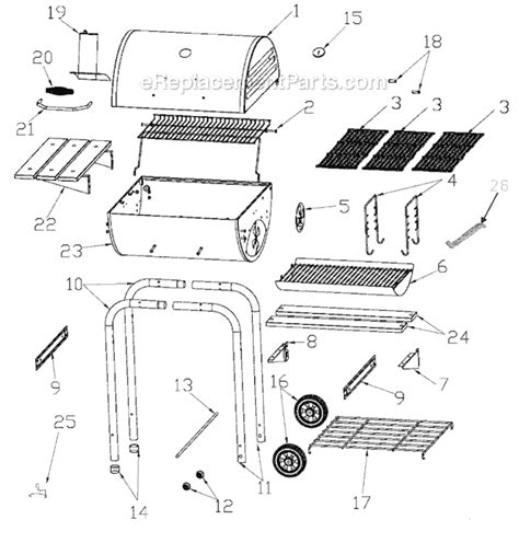 char broil parts diagram char broil 10301567 parts list and diagram 600 series