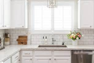 White Tile Kitchen Backsplash white granite kitchen countertops with white subway tile backsplash