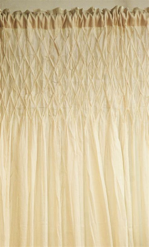 smocked burlap curtains cream jute weave hand smocked cotton curtain cacharel