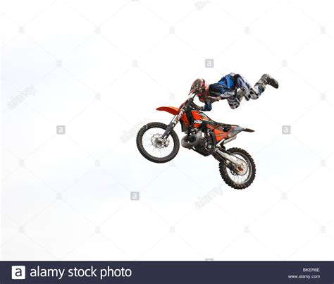 motocross stunts freestyle freestyle motocross stunt bike ridden by gary taylor stock