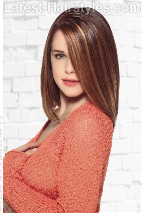 highlights for front sides only for brown hair brunette haircolor with front highlights side view