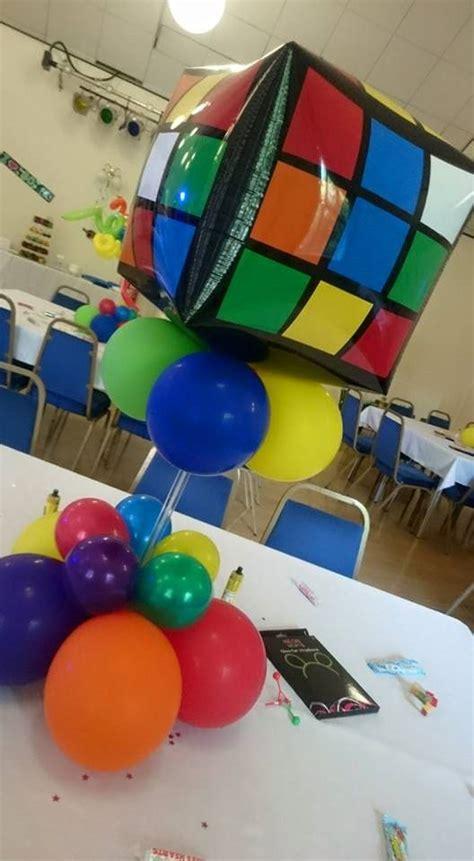 cube decorations rubik s cube balloon centerpiece balloons 80 s theme
