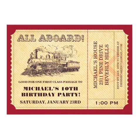 trem card template ticket invitations zazzle