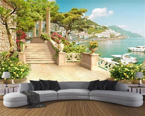 custom wallpaper garden balcony stairway lake view