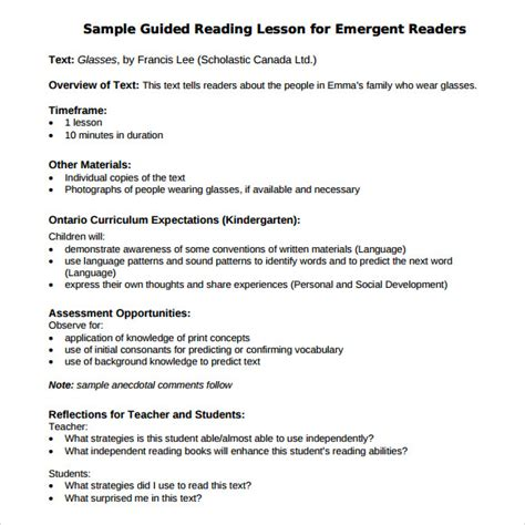 The Reading Lessons 9 sle guided reading lesson plans sle templates