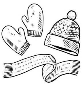 Winter Scarf Template Doodle Mittens Hat sketch template