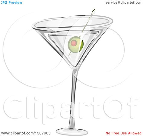martini olive vector clipart of a martini cocktail with a green olive royalty