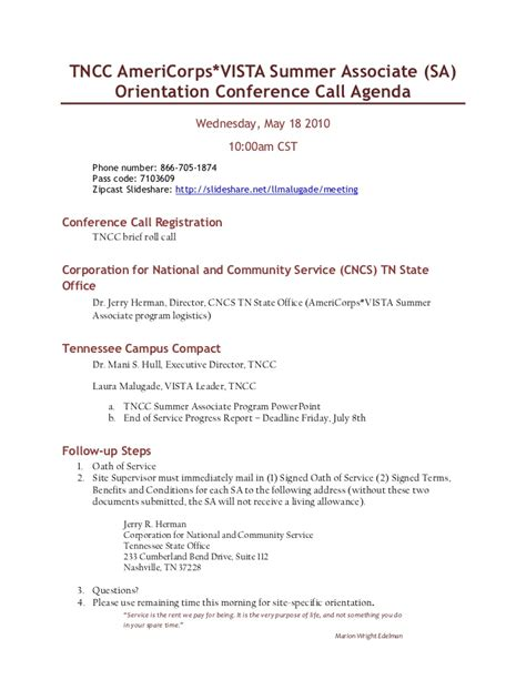 conference call meeting agenda template may 18 2011 sa orientation conference call agenda