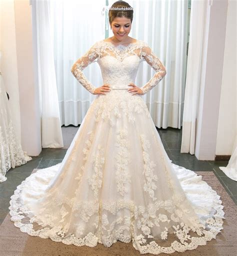 Vintage Long Sleeves Lace Wedding Dresses 2018 Princess