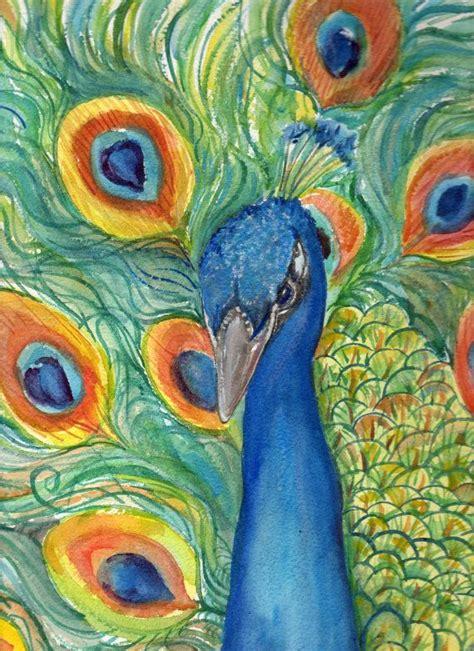 original watercolor painting peacock painting peacock peacock watercolor painting original
