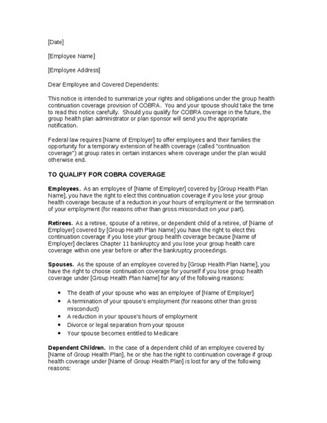 cobra insurance cancellation letter this sle letter informs employees of employers covered