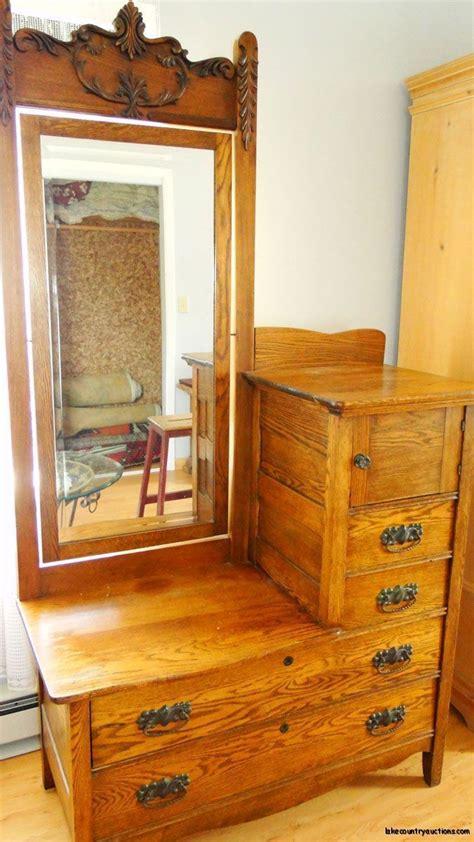 antique carved vanity eastman bedroom dresser  mirror
