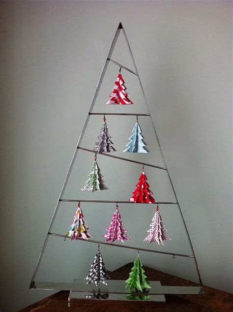 Origami Tree Ornaments - origami paper trees