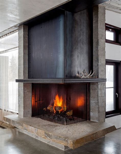 Modern Corner Fireplaces by Enchanting Getaway Gives The Woodsy Cabin Style A Modern Twist