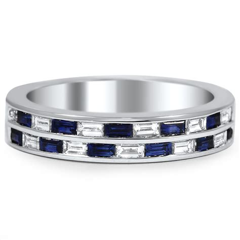 Custom Sapphire and Diamond Baguette Double Wedding Band   Brilliant Earth