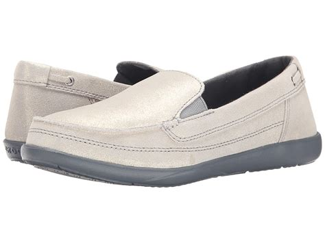 womens croc loafers upc 887350482928 crocs walu shimmer leather loafer