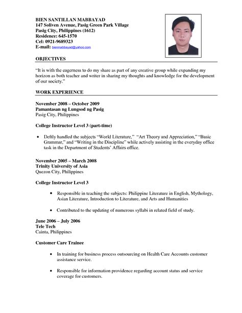 resume format for teaching application resume for teachers exles resume ideas