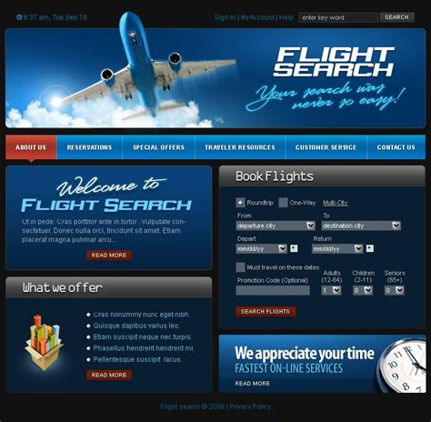 Airline Tickets Website Template 17071 Airline Website Template