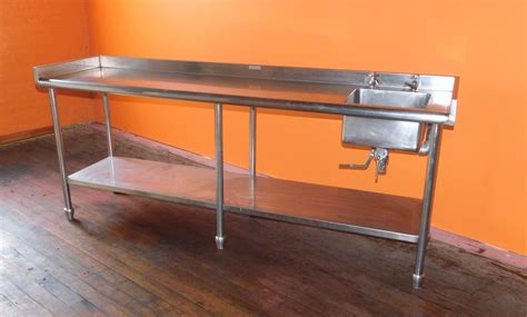 used stainless steel table with sink 90 quot x 24 quot heavy duty stainless steel prep table with sink