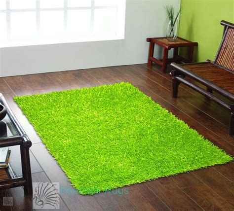 small lime green rug modern spider lime green small shaggy pile rug 70x140cm ebay