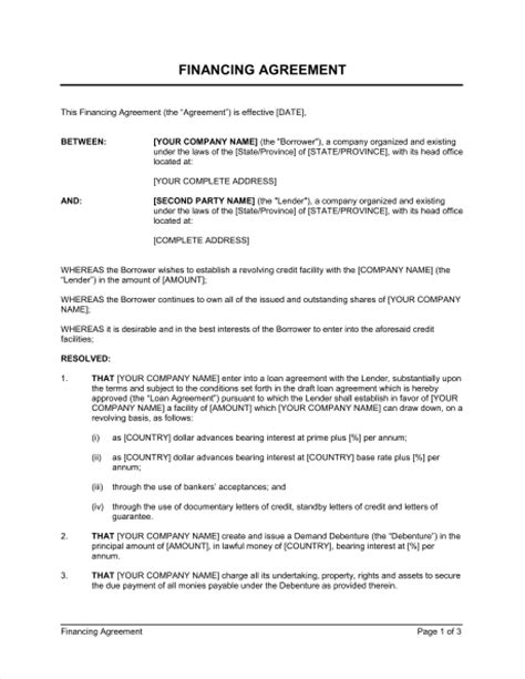financing agreement short template sle form