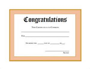 Congratulations Template by Sle Thank You Certificate Template 10 Documents
