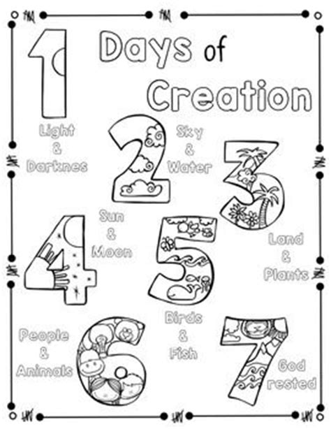 preschool coloring pages of creation days of creation coloring page and handwriting practice