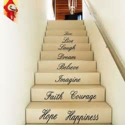 Stair Wall Art by Diy Removable House Stair Word Art Quotes Love Faith Wall