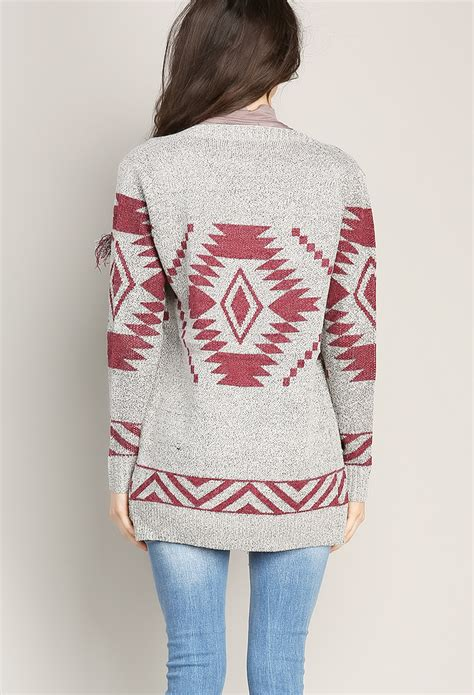 aztec pattern knit sweater aztec pattern knit cardigan shop sweaters cardigans at