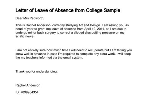 College Leave Letter Exle Leave Of Absence Letter Free Printable Documents