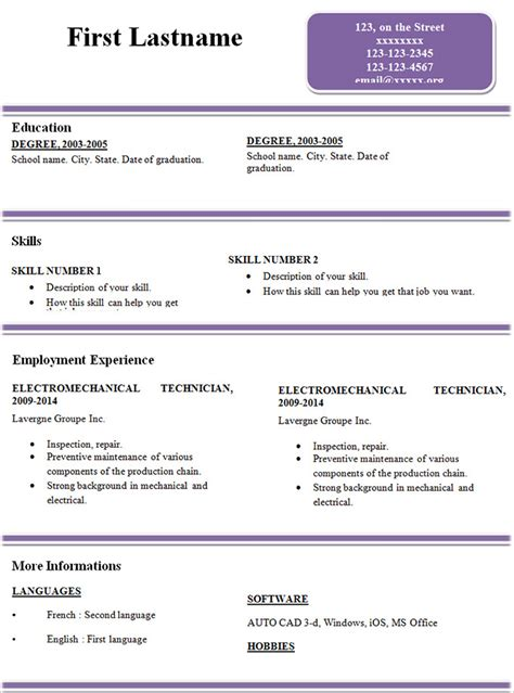 Resume Template Simple by Simple Resume Template 46 Free Sles Exles