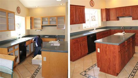 reface kitchen cabinets before after cabinet refacing before and after