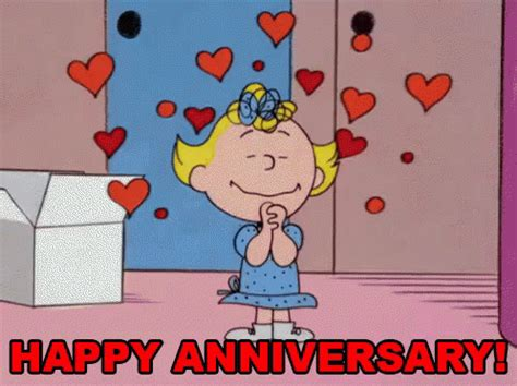 Happy Wedding Anniversary Animated Gif by Happy Anniversary Gif Hearts Peanuts Sally Discover