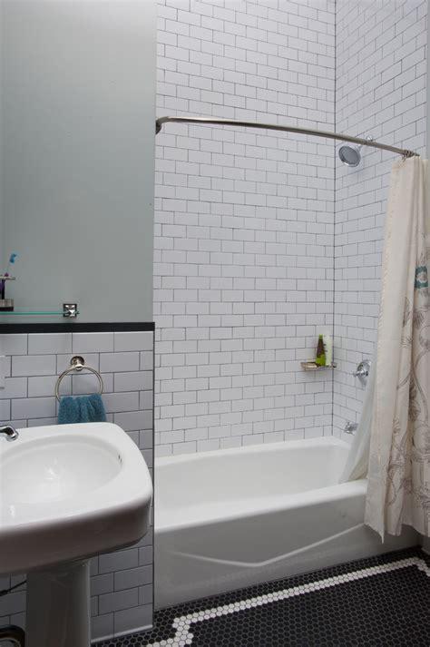 bathroom subway tile Bathroom Contemporary with bath caddy