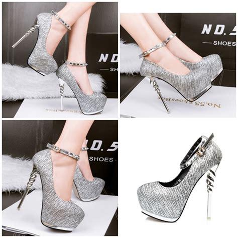 Sepatu Shoeshigh Heels Import 14cm Gold jual shh1993 silver high heels elegan 14cm grosirimpor