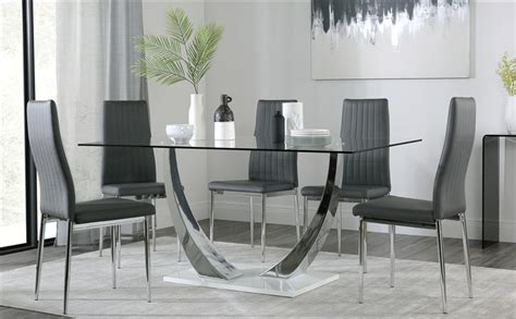 glass dining table and 6 chairs sale peake glass and chrome dining table white gloss base
