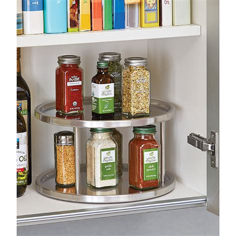 storage containers for lazy susan cabinet 2 tier stainless steel lazy susan the container store