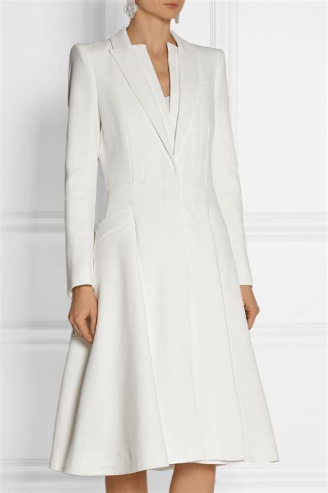 Dress Coats mcqueen a line crepe coat in white lyst