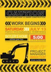 construction birthday printables invite dump truck bulldozer cement truck digger boys