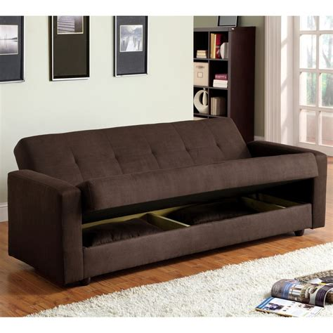 sleeper couch with storage furniture of america cozy microfiber sleeper sofa bed with