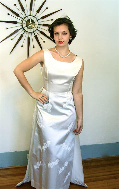 vintage  ivory satin wedding dress long column