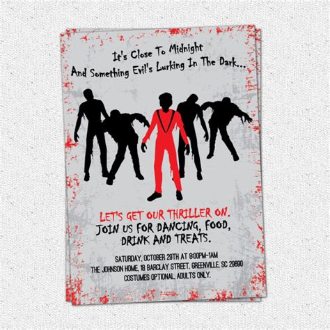 printable michael jackson birthday cards printable thriller halloween birthday invitation party
