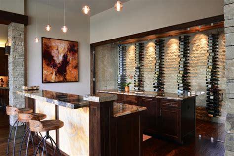 Cool basement bar with wine storage