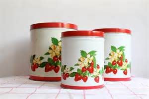 Tin Kitchen Canisters by Vintage Tin Strawberry Kitchen Canisters By