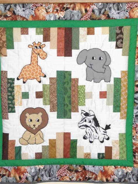 Patchwork Animals - appliqued jungle animals baby quilt by grannysbabyquilts