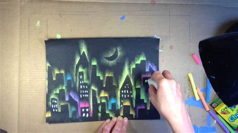 chalk paint cities city and mountain skyline using chalk