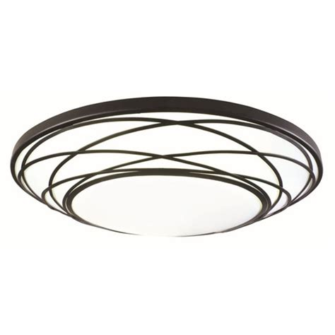 shop portfolio 19 in w black led ceiling flush mount at