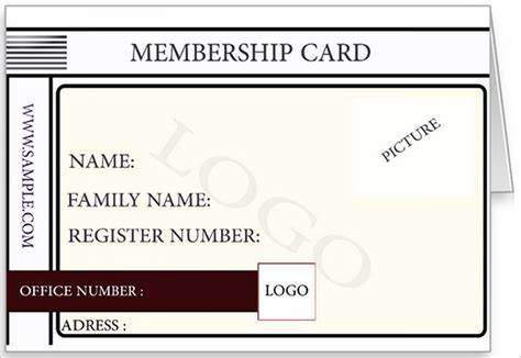 membership card template excel membership card template template business